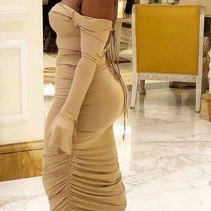 Nude bodycon maxi dress